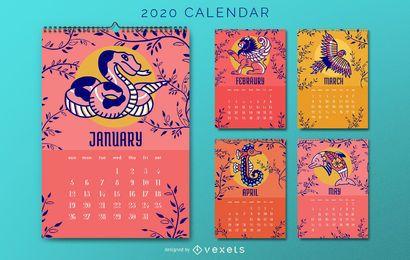 Design de calendário animal 2020