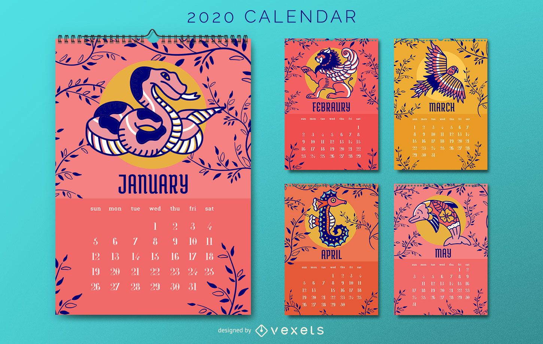 Diseño de calendario animal 2020