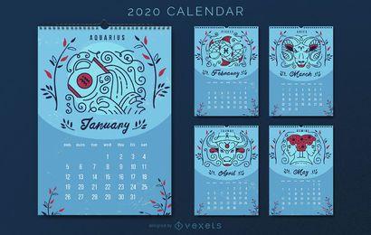 Kalenderentwurf der Horoskop-Astrologie-2020
