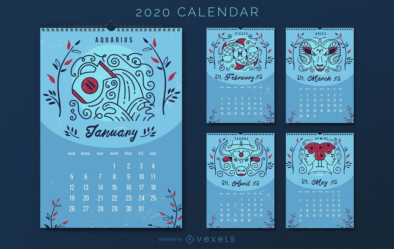 Horóscopo Astrología 2020 Diseño de calendario