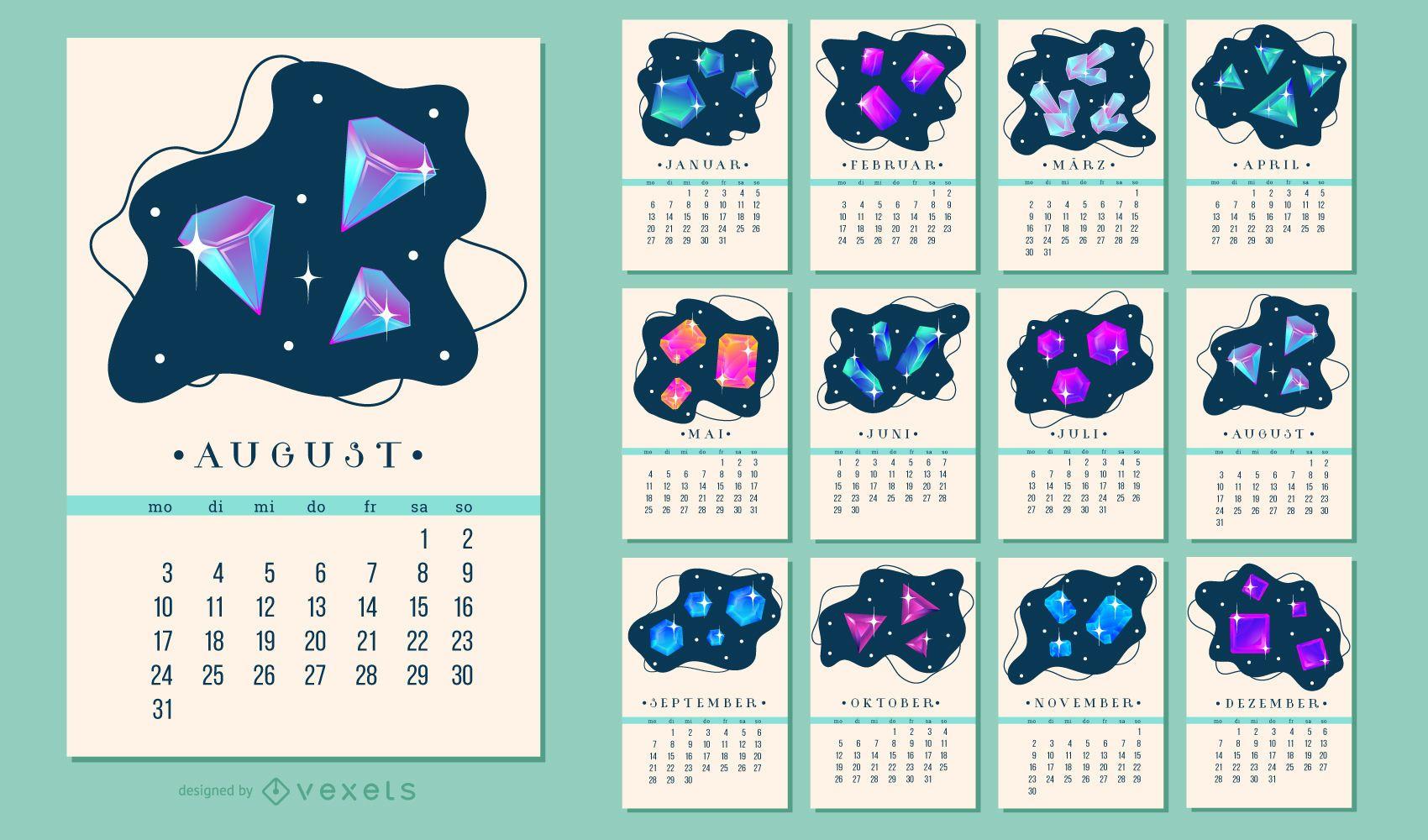 German 2020 Crystal Calendar Design