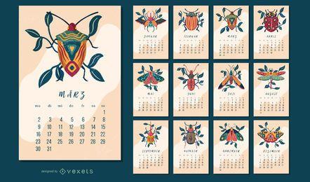 Design de calendário alemão de insetos