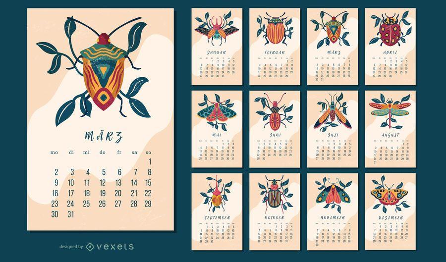 Diseño de calendario alemán de insectos