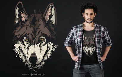 Design de t-shirt de ilustração de cara de lobo