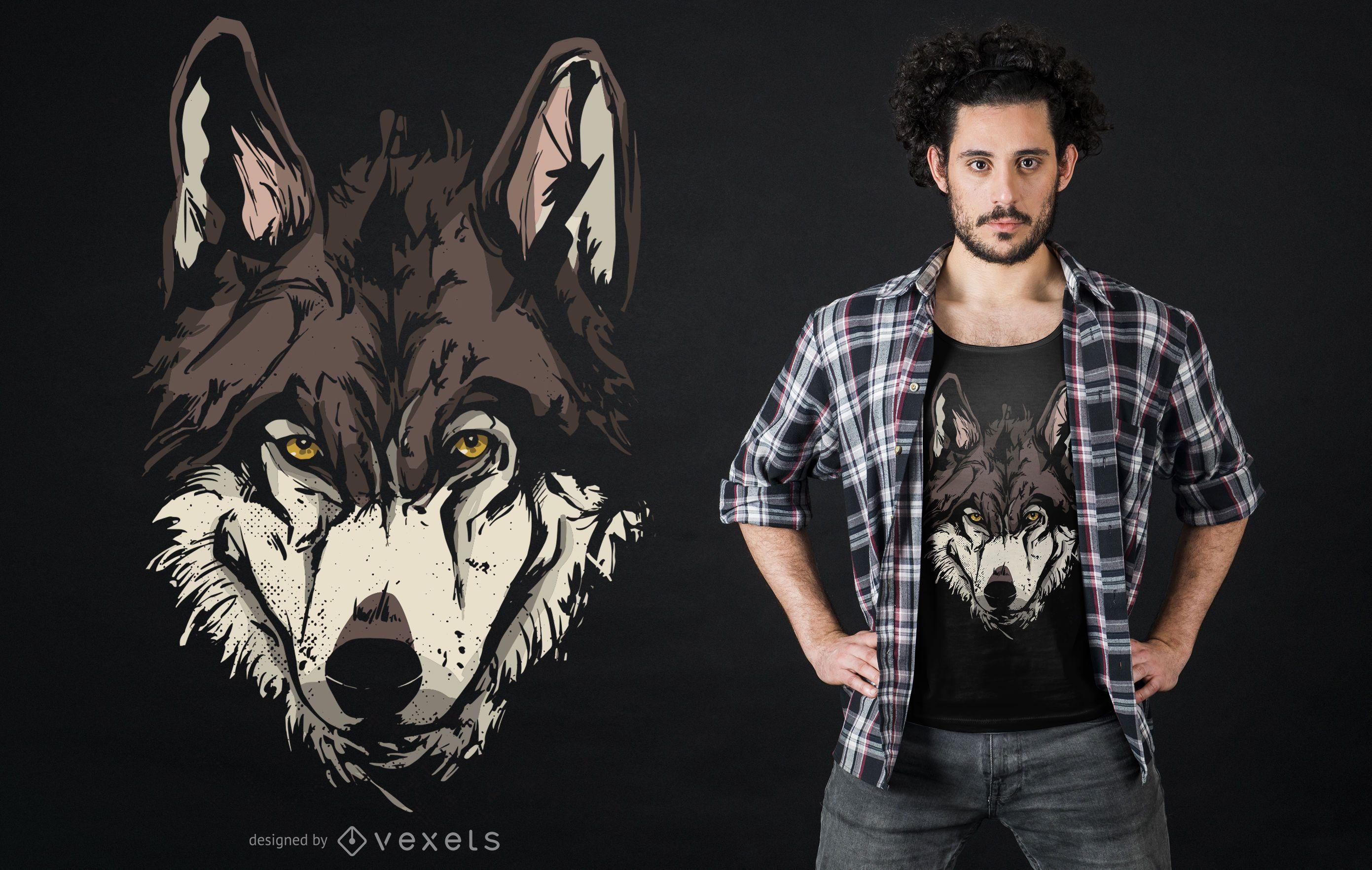 Wolf Face Illustration T-shirt Design