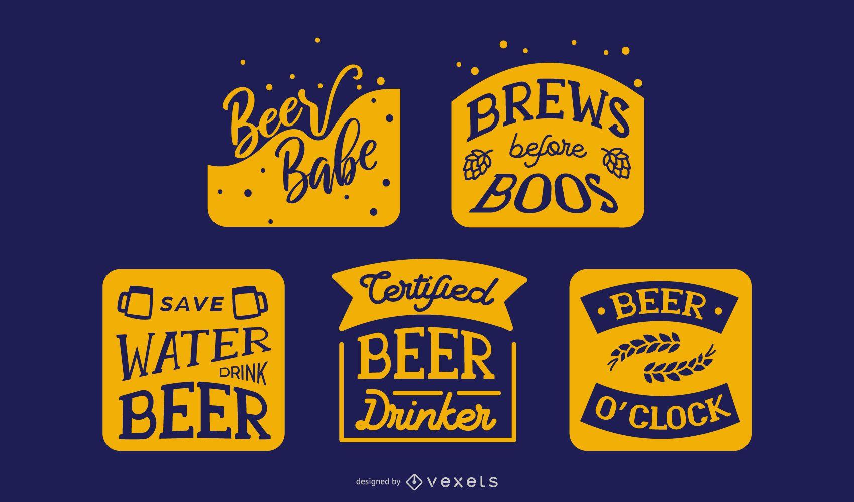 Conjunto de banners com letras de cerveja