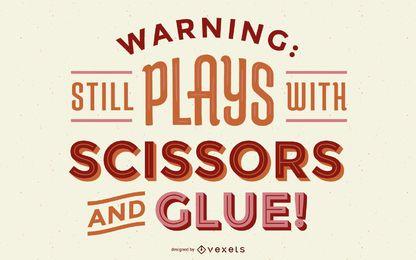 Warnung, Briefgestaltung in Handarbeit machend