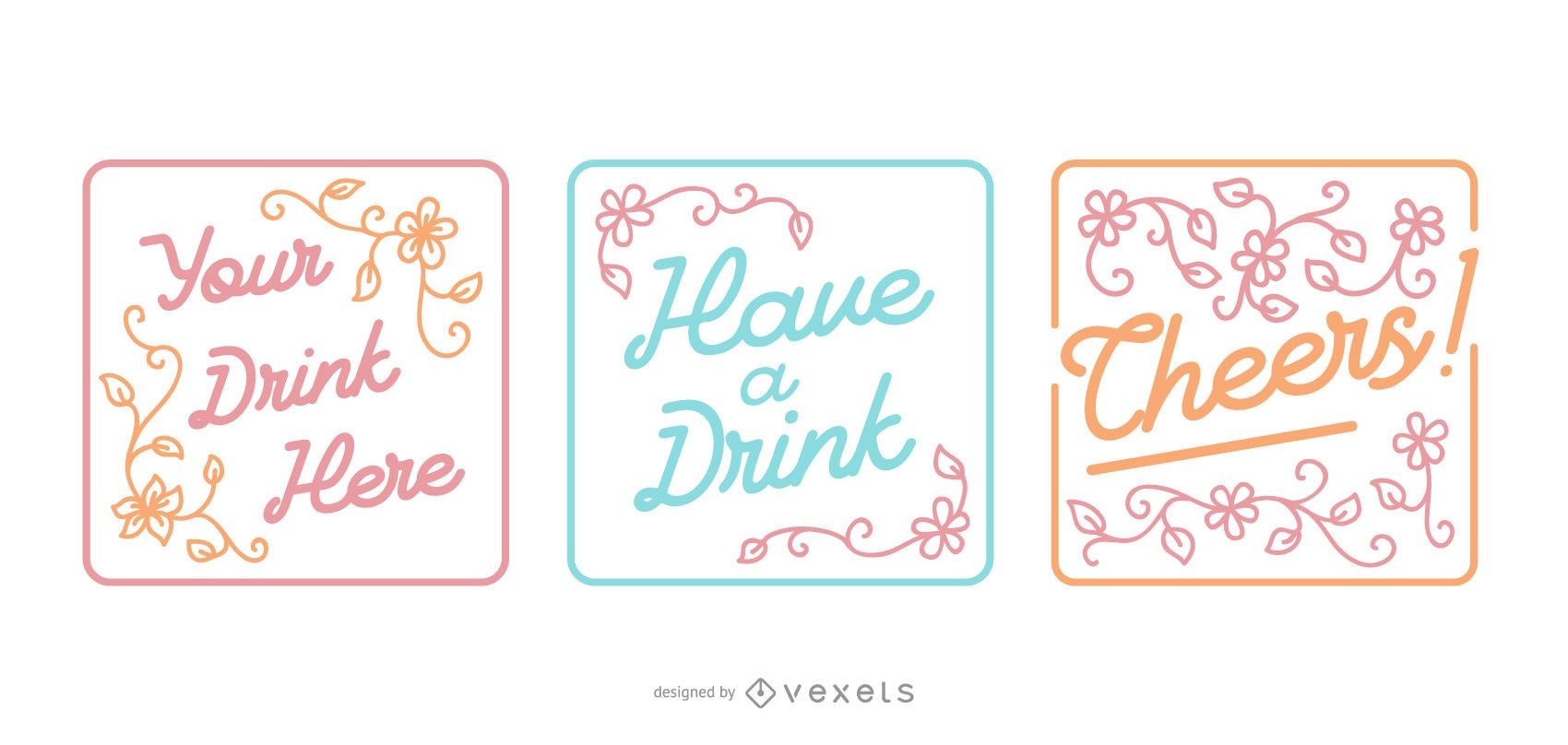 Drinking Lettering Quote Design Set