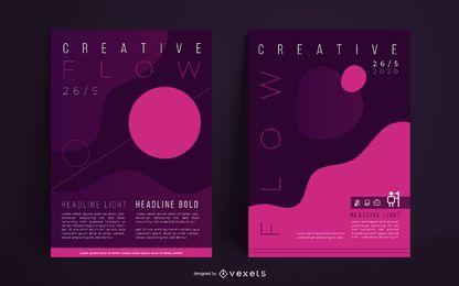 Conjunto de cartaz abstrato criativo