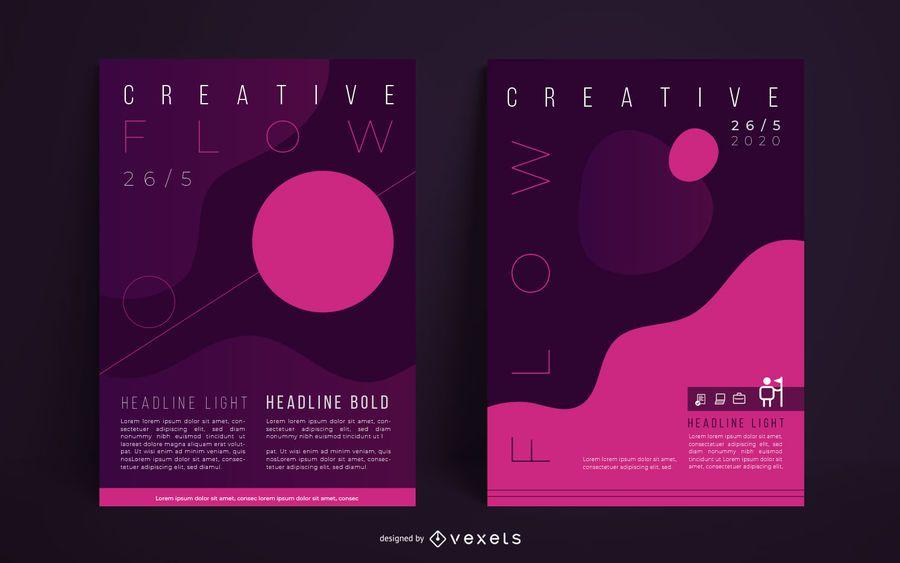 Conjunto de carteles abstractos creativos