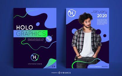 Conjunto de modelo de cartaz de fluxo criativo
