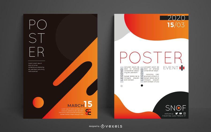 Conjunto de design de cartaz editável abstrato