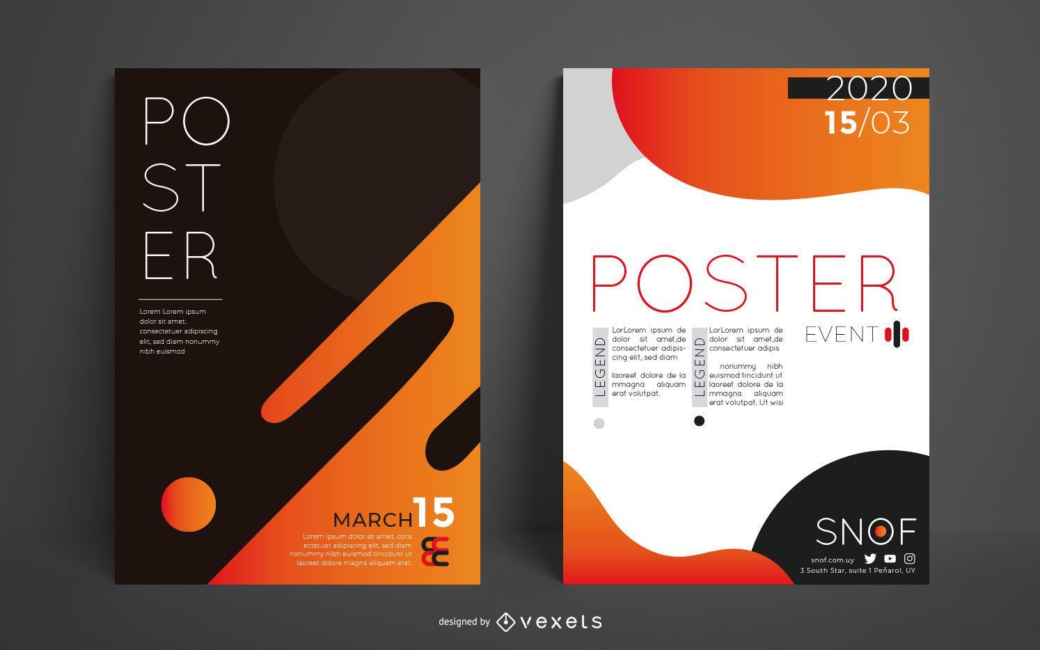 Abstract Editable Poster Design Set