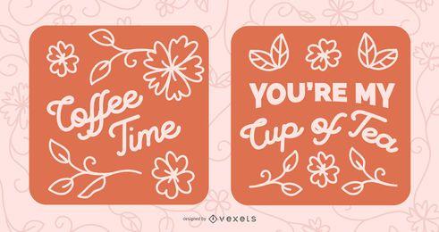 Conjunto de faixas com letras de citação de café e chá