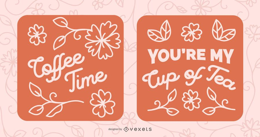 Coffee and Tea Quote Lettering Banner Set
