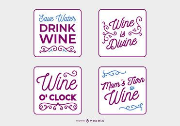 Handwritten Wine Quote Banner Set
