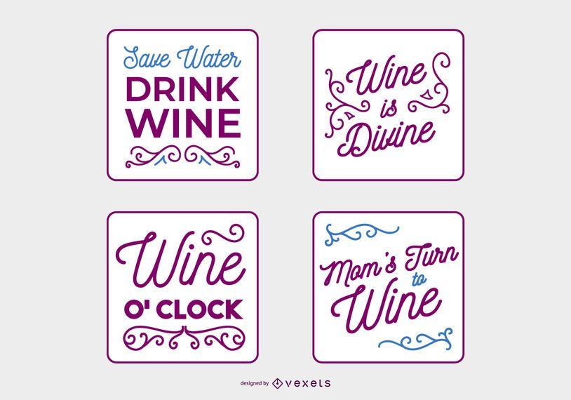 Conjunto de Banner de citação de vinho manuscrita