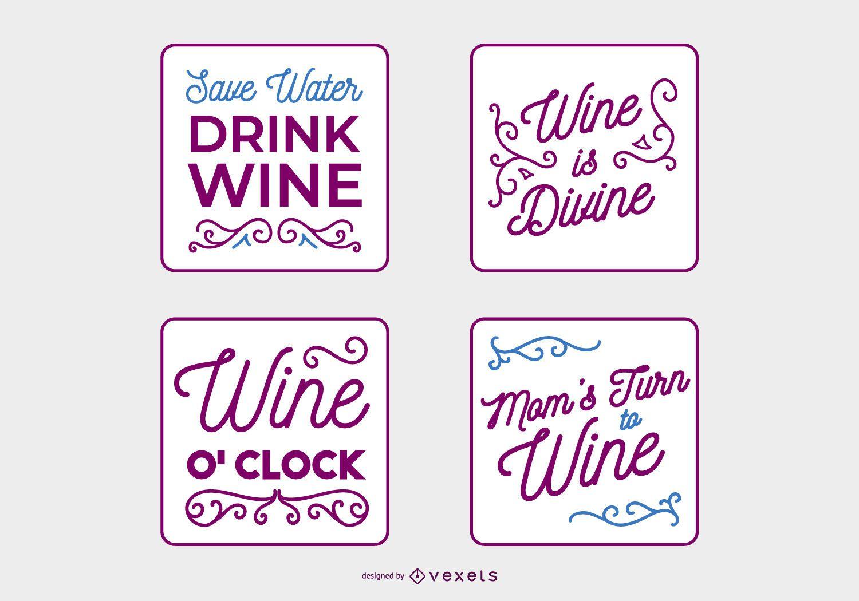 Handwritten Wine Quote Banner Set