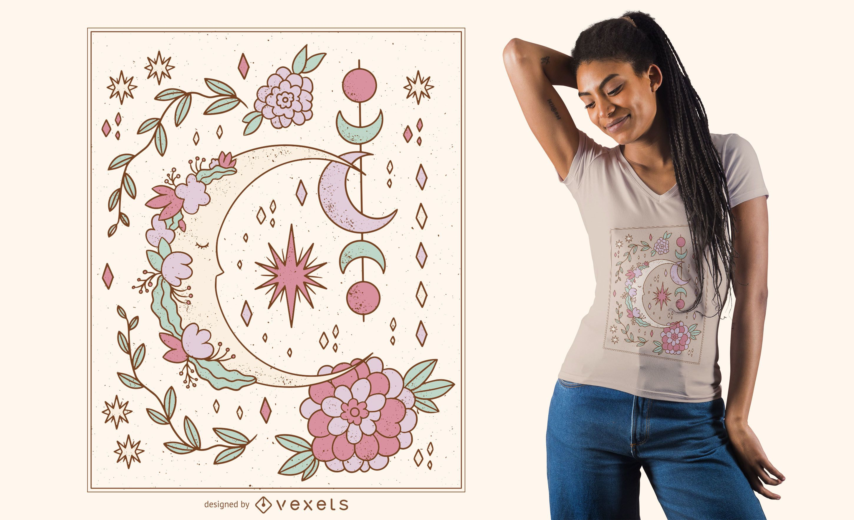 Diseño de camiseta de luna ornamental floral
