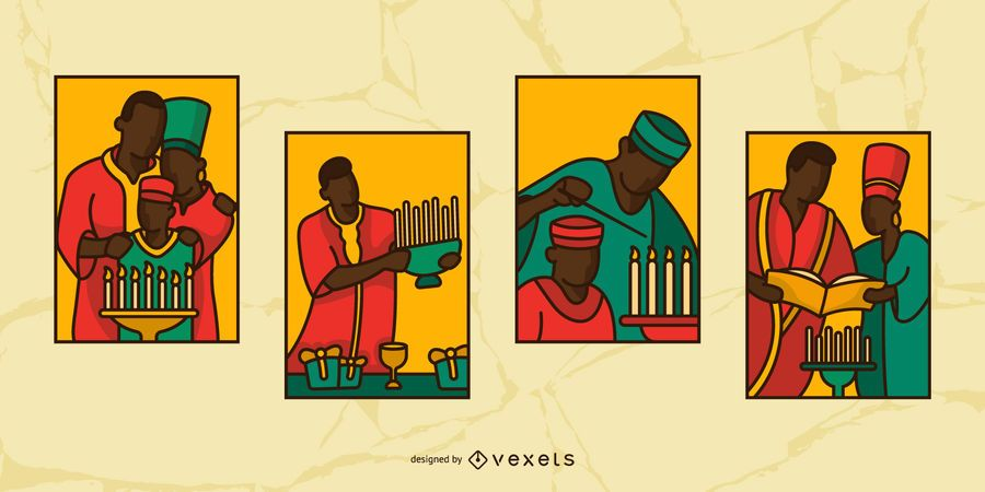Kwanzaa Stained Glass People Illustration Set