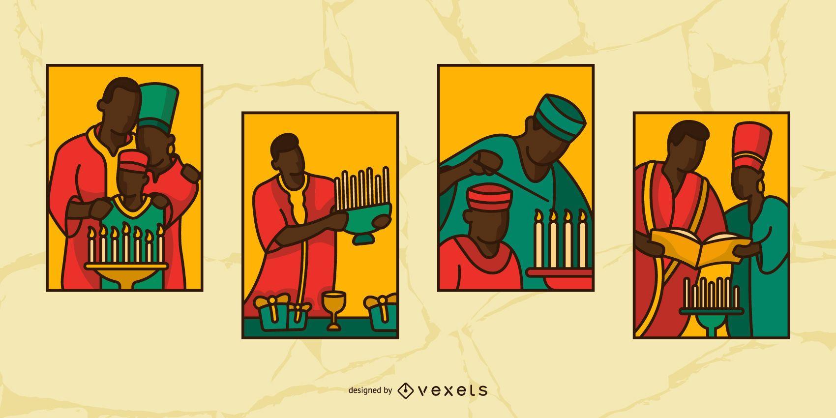 Conjunto de ilustración de personas de vidrieras de Kwanzaa
