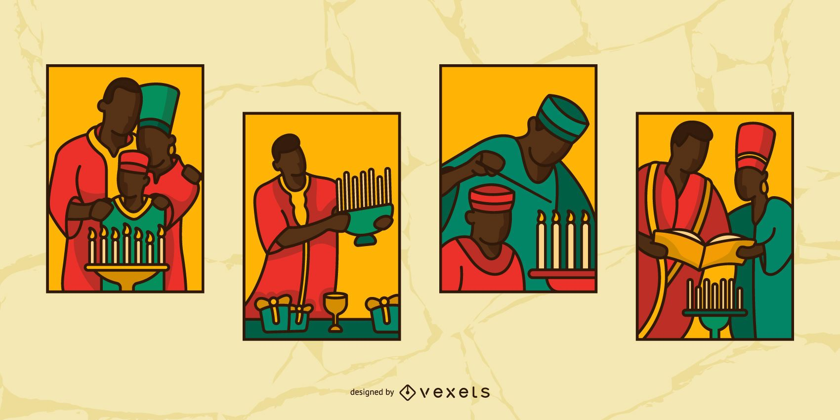 Kwanzaa Stained Glass People Illustration Set
