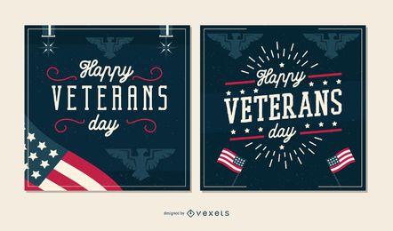 Veterans day banner set