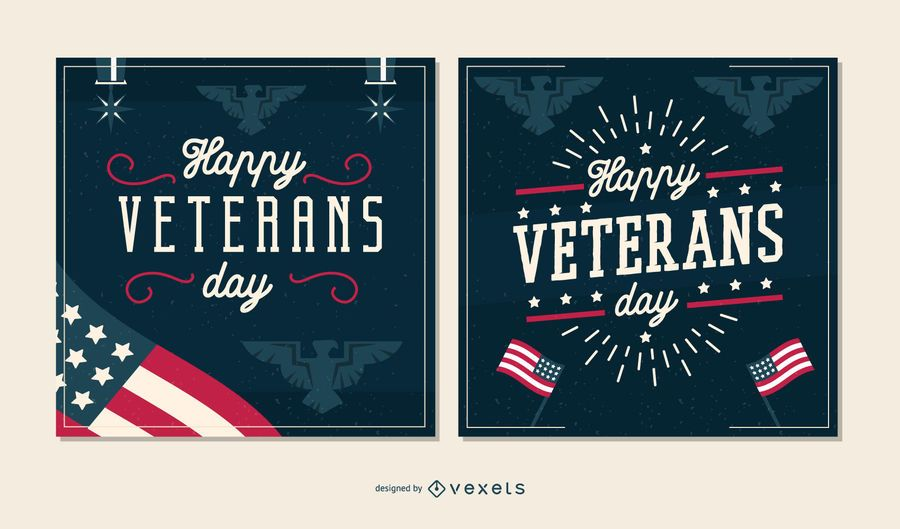 Veterans day banner set