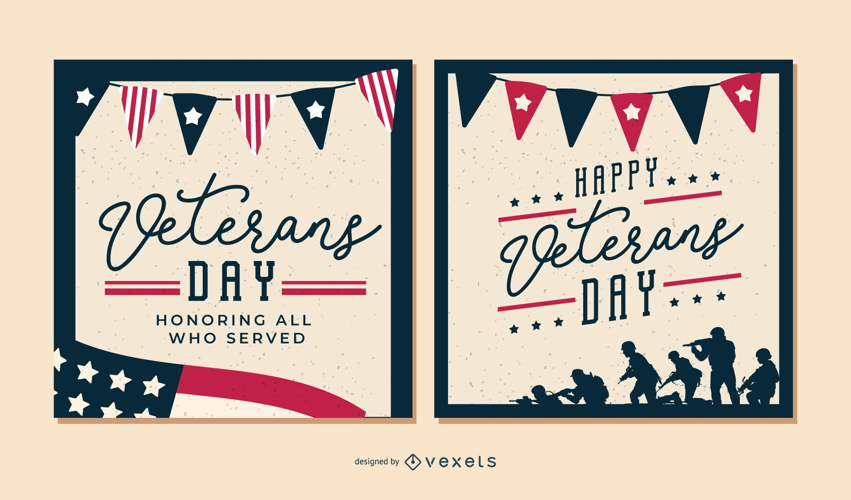 Conjunto de banners de feliz día de los veteranos