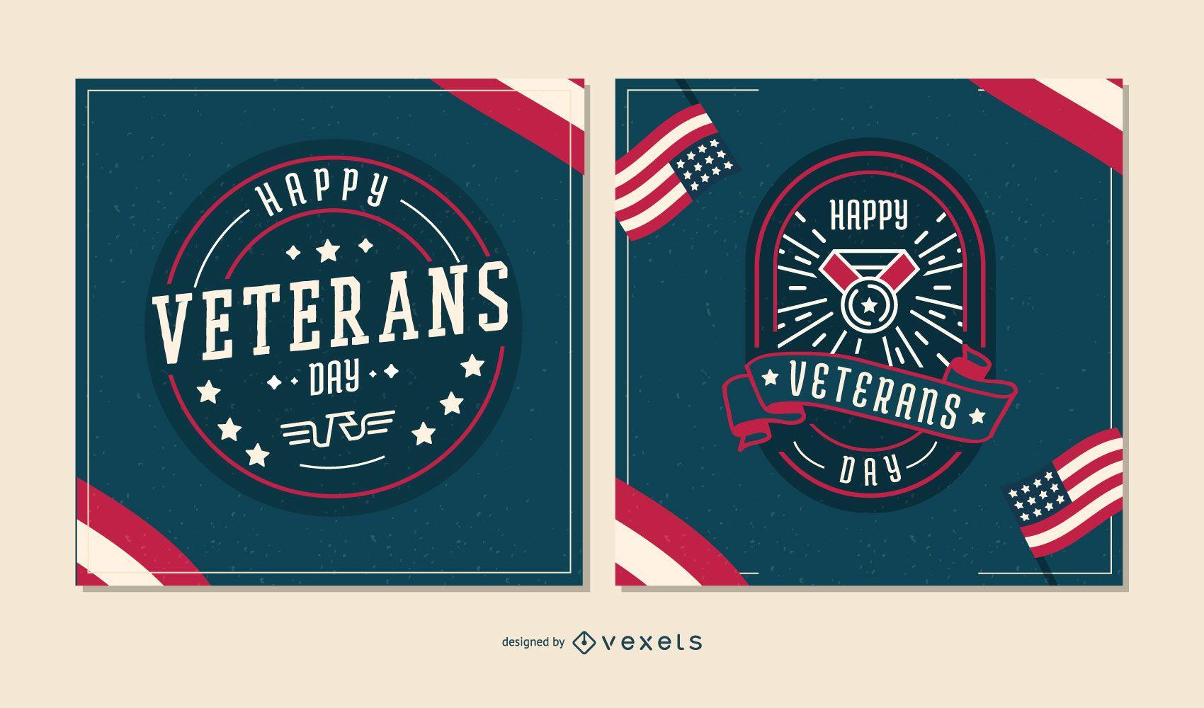 Conjunto de banners editables del día de los veteranos