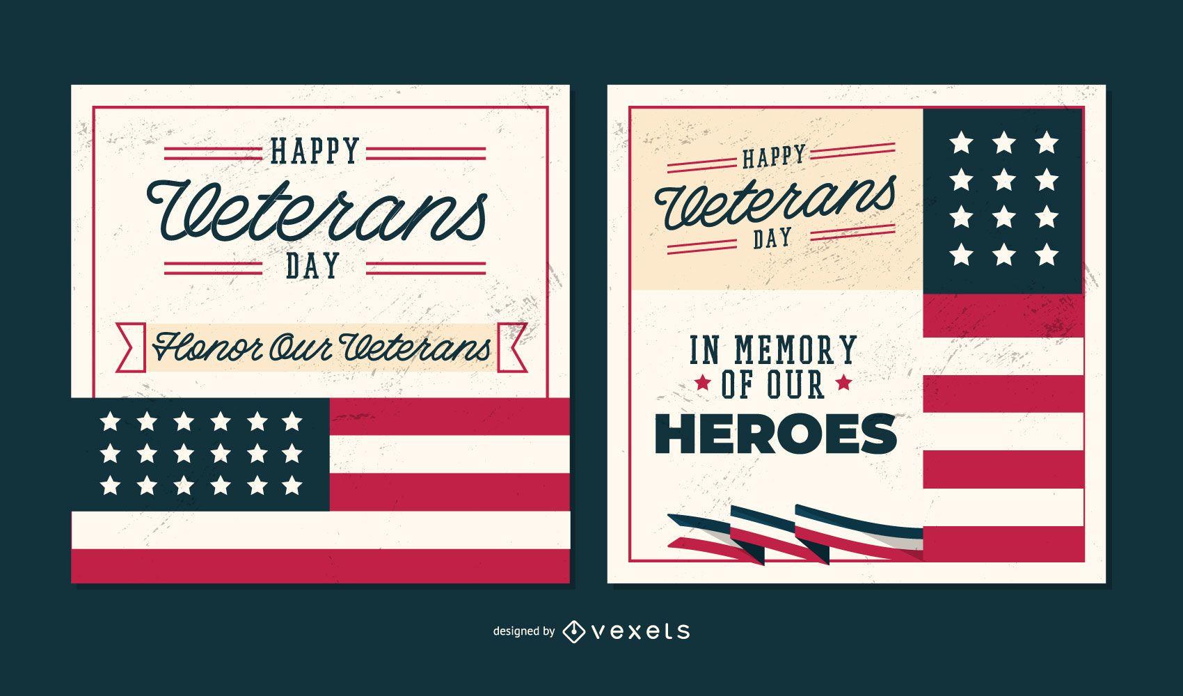 Banners editáveis do Dia dos Veteranos