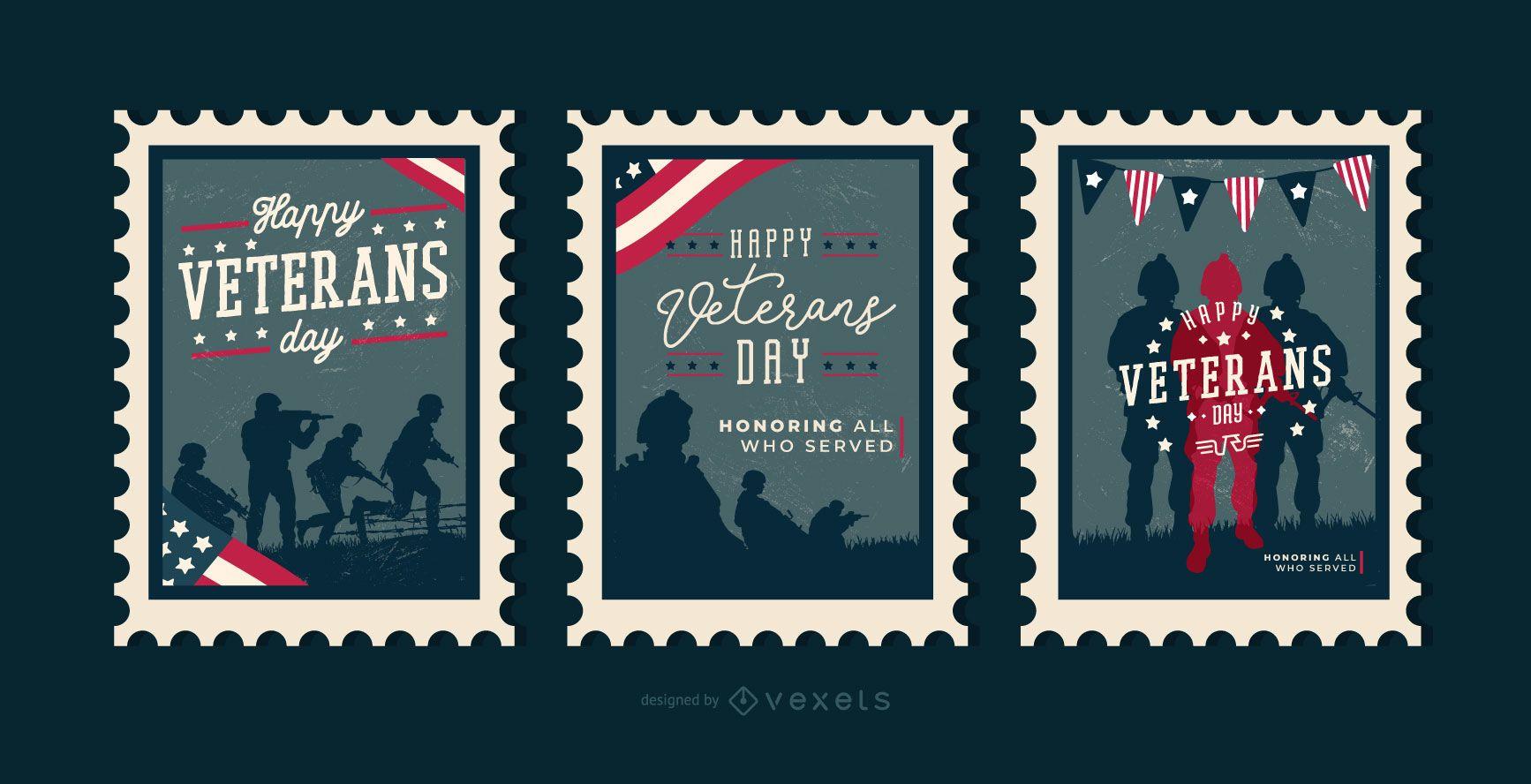 Sellos editables del día de los veteranos