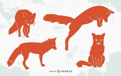 Conjunto de diseño de silueta de zorro