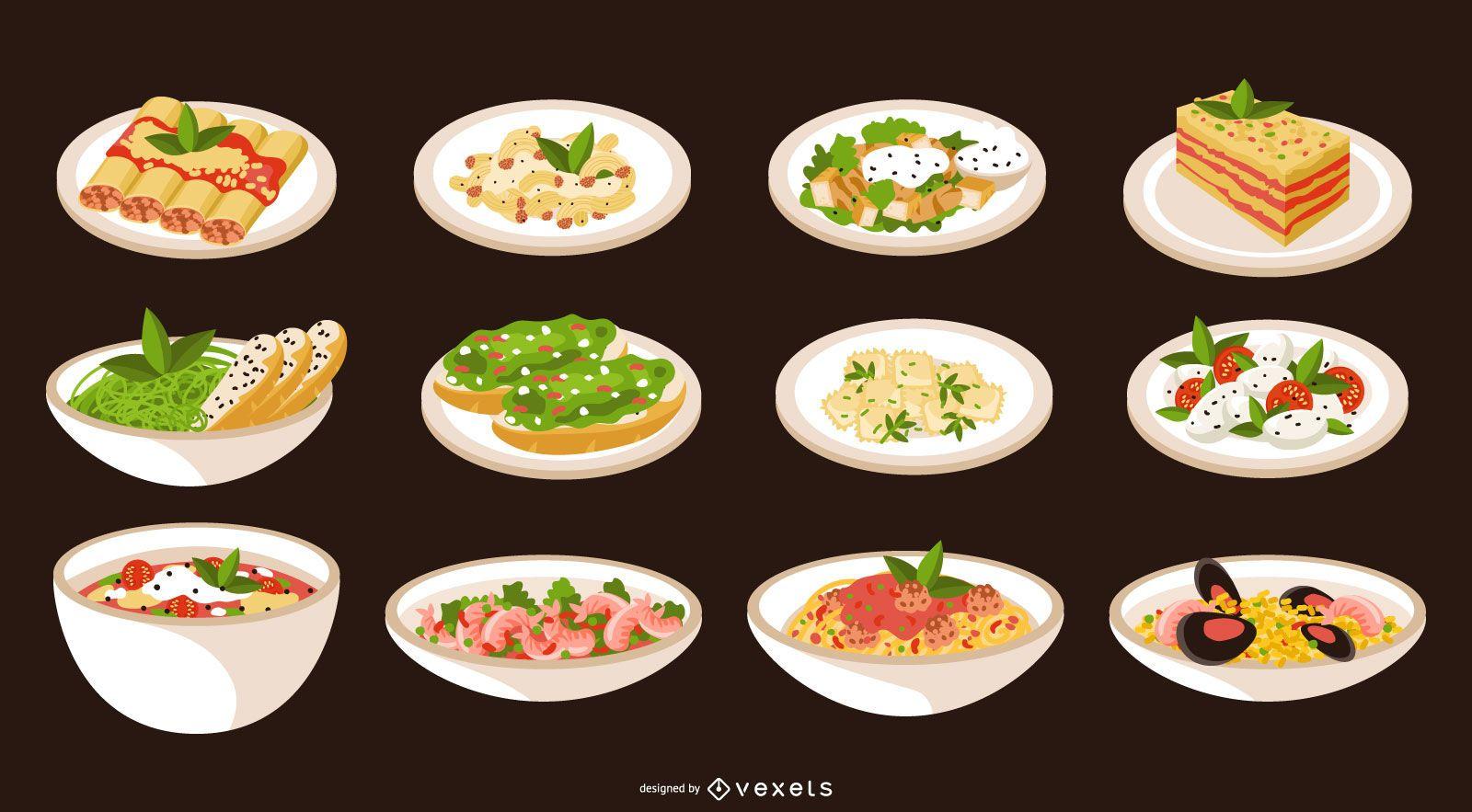 Coleção de pratos de comida italiana