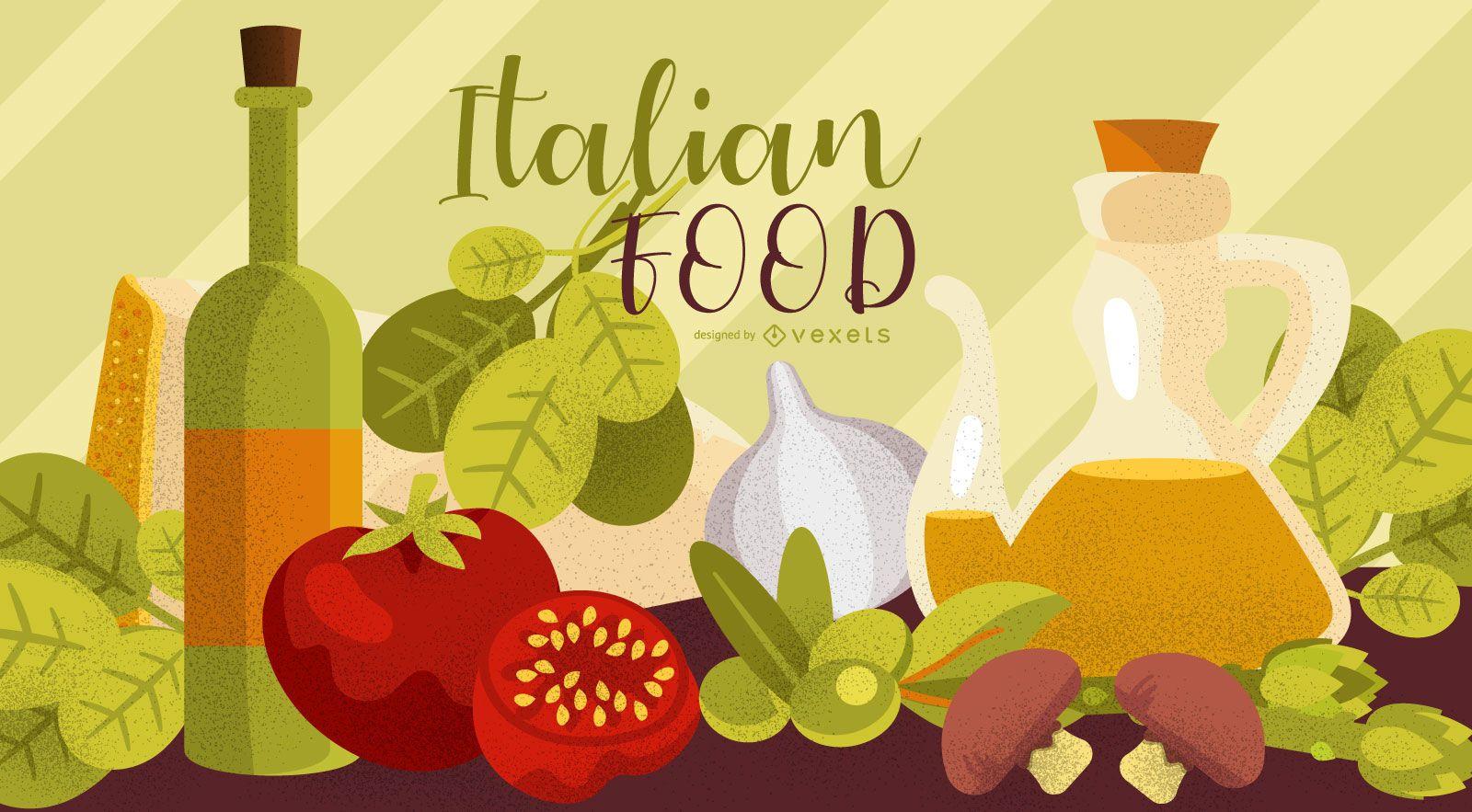Italian Food Elements Wallpaper