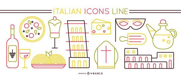 Conjunto de iconos de trazo de elementos italianos