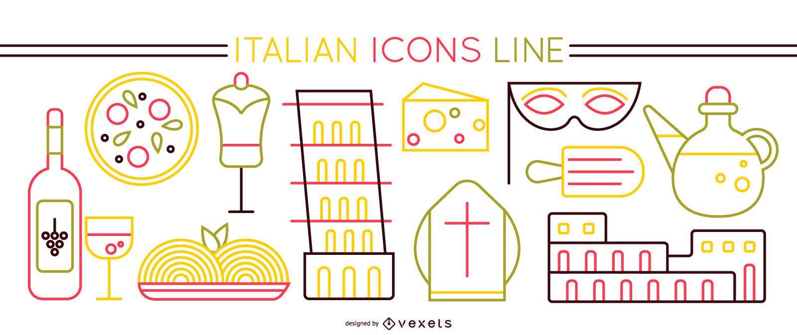 Italian Elements Stroke Icon Set