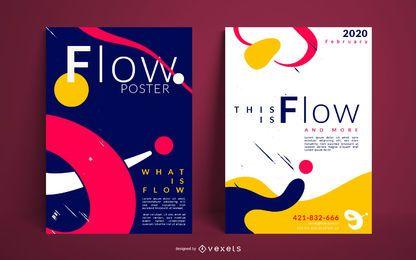 Conjunto de design de cartaz de fluxo criativo