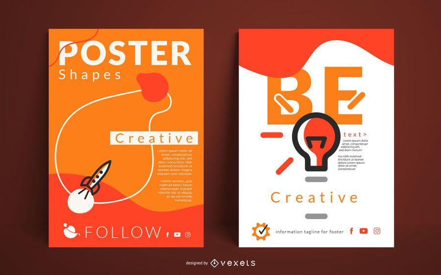 Pacote de design de cartaz de fluxo criativo