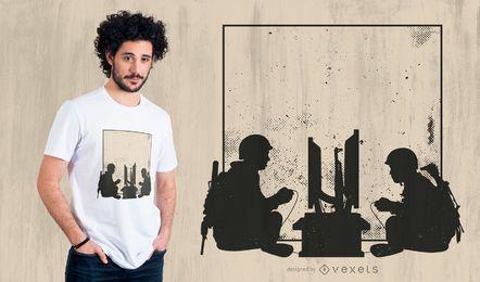 Design de t-shirt de jogo militar