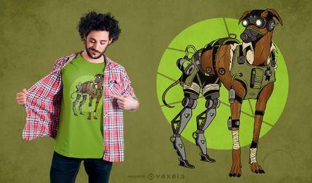 Diseño de camiseta de galgo perro cyborg