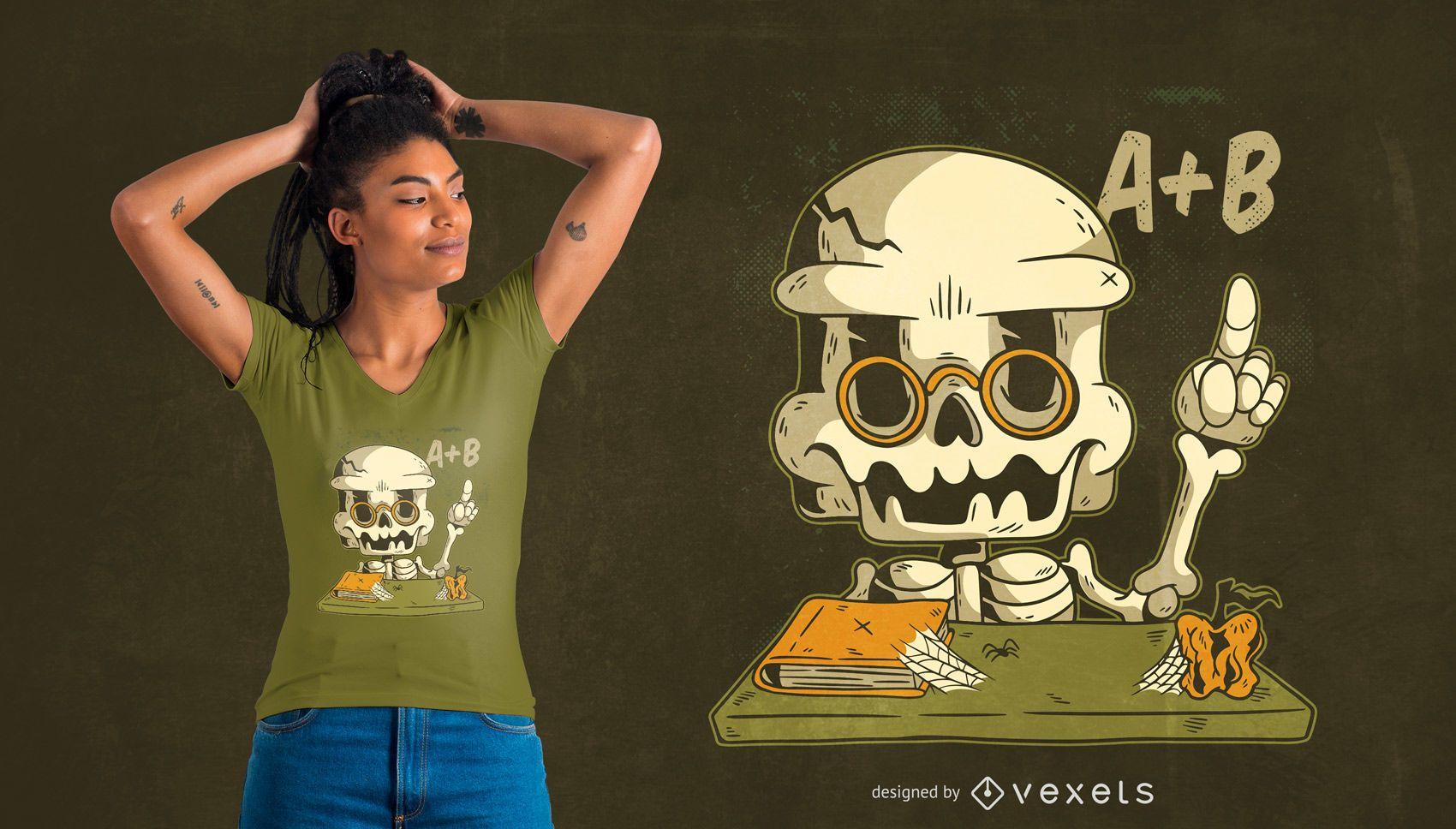 Teacher skeleton t-shirt design