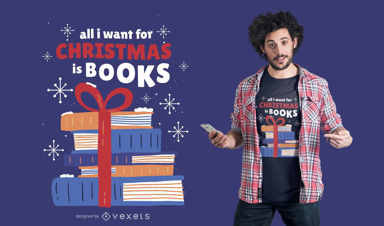 Dise?o de camiseta de libros navide?os.