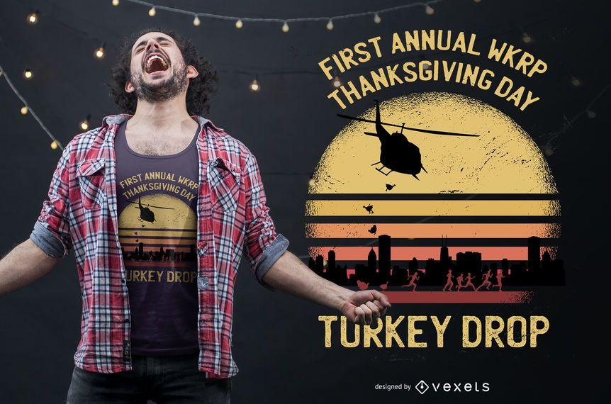Diseño de camiseta de acción de gracias de Turkey Drop