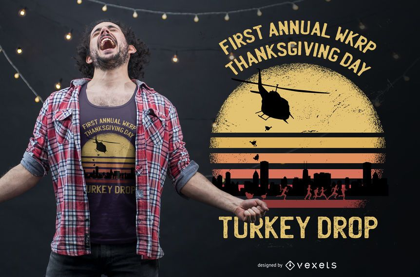 Turkey Drop Thanksgiving T-shirt Design