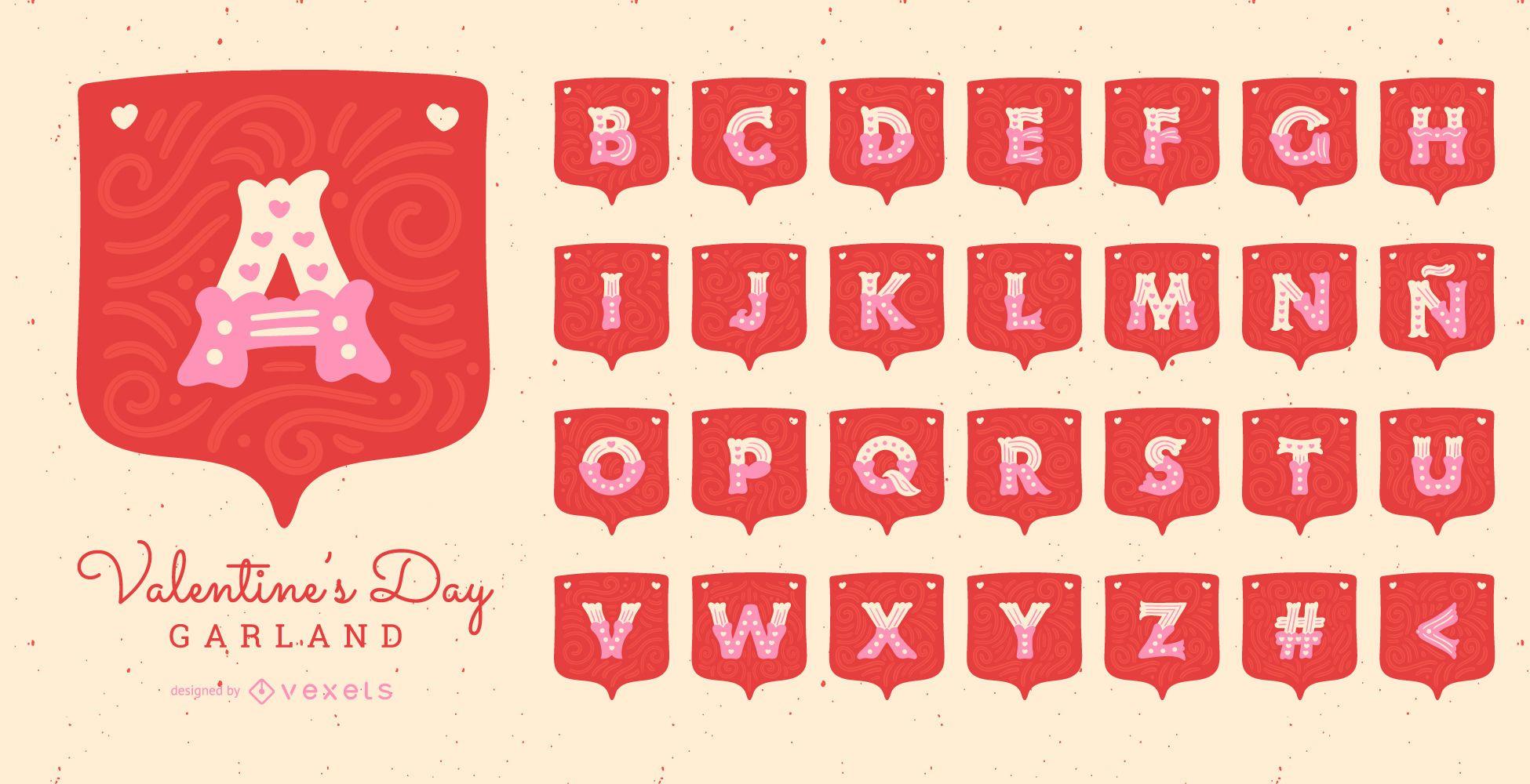 Conjunto de letras del alfabeto de la guirnalda del día de San Valentín