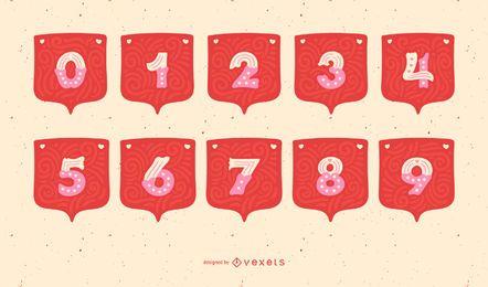 Conjunto de números de alfabeto de guirnalda de San Valentín