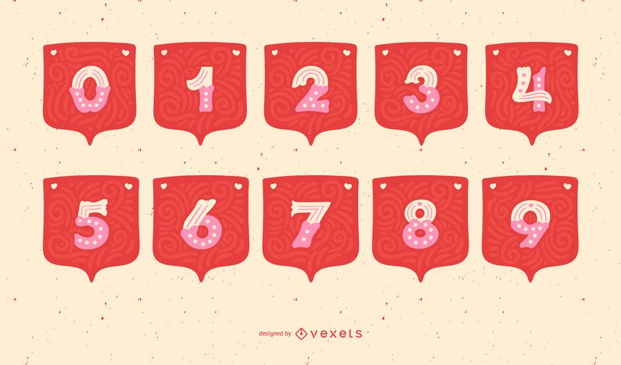 Conjunto de números de alfabeto guirlanda de dia dos namorados