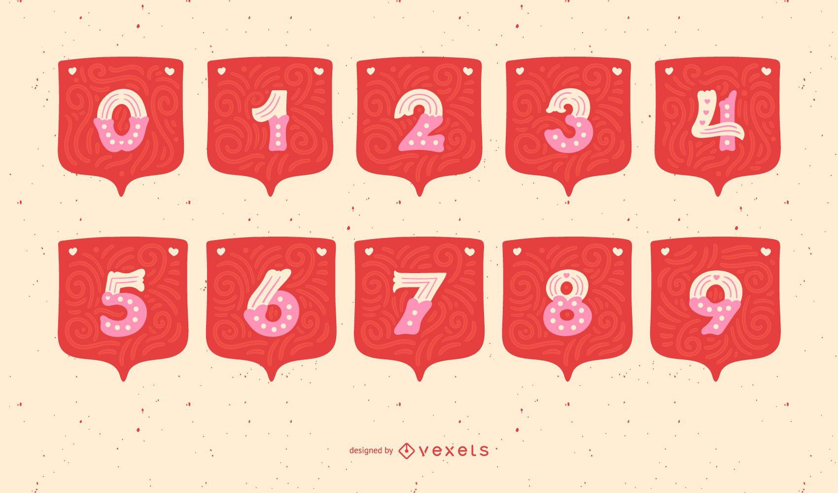 Valentine's Day Garland Alphabet Number Set