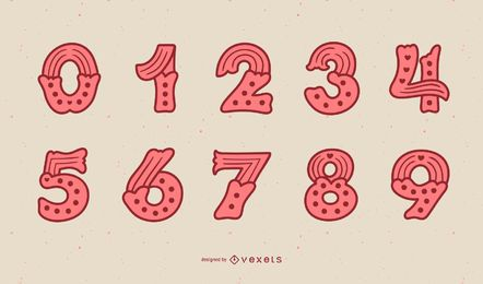Valentine's Day Number Set